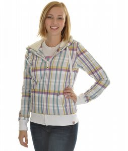 Roxy Canoe Full Zip Hoodie White Farmer Plaid