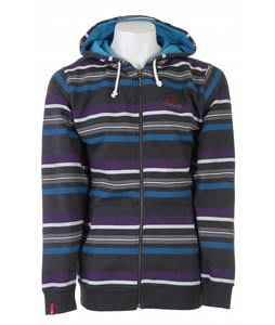 Foursquare Multi Stripe Fullzip Hoodie Charcoal Heather