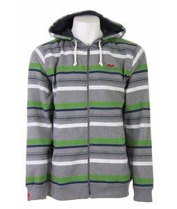 Foursquare Multi Stripe Fullzip Hoodie Heather Grey