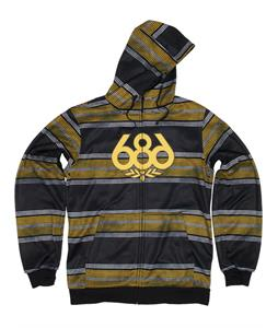 686 Airflight Advantage Bonded Fleece Hoodie Black Rugby Stripe