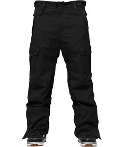 686 Authentic Infinity Cargo Insulated Snowboard Pants Black Herringbone Denim