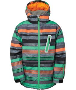 686 Authentic Stance Insulated Snowboard Jacket Green Denim Stripe