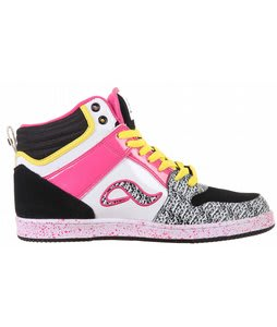 Adio Ruckus Skate Shoes Black/Pink/Yellow