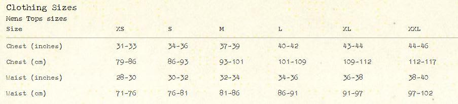 Altamont Size Chart