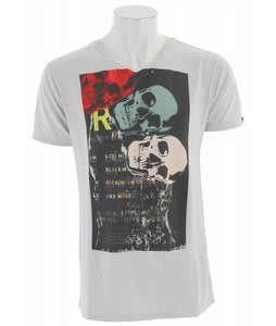 Analog Skull Tipping V Neck T-Shirt Silver