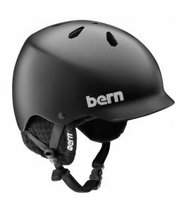 Bern Watts Carbon Fiber Snowboard Helmet Matte Black/Black Knit