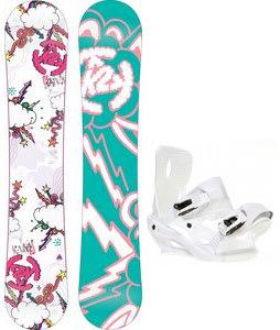 K2 Lil Kandi Snowboard w/ Sapient Zeus Bindings White
