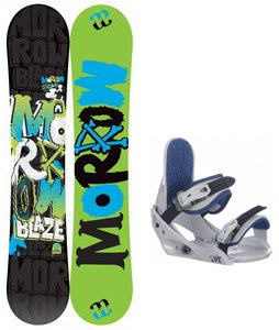 Morrow Blaze Snowboard w/ Burton Freestyle Jr Bindings Lt Grey