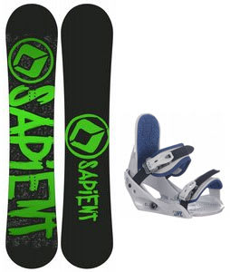 Sapient Yeti Snowboard w/ Burton Freestyle Jr Bindings Lt Grey