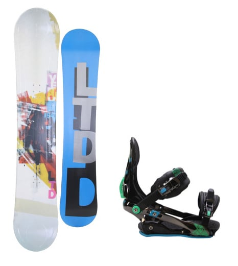 LTD Venom Snowboard w/ Rome S90 Bindings Blue/Green