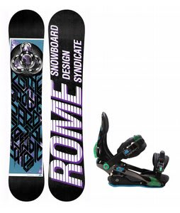 Rome Postermania Snowboard w/ Rome S90 Bindings Blue/Green