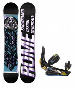 Rome Postermania Snowboard w/ Rome S90 Bindings Blue/Yellow