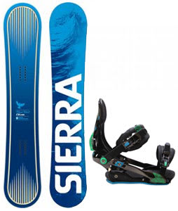 Sierra Bluebird Snowboard w/ Rome S90 Bindings Blue/Green