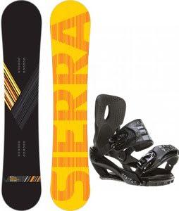 Sierra Reverse Crew Wide Snowboard w/ Sapient Stash Bindings Black/Charcoal