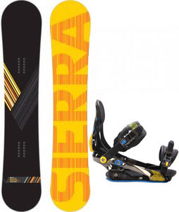 Sierra Reverse Crew Wide Snowboard w/ Rome S90 Bindings Blue/Yellow