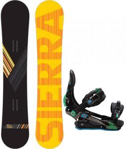 Sierra Reverse Crew Wide Snowboard w/ Rome S90 Bindings Blue/Green