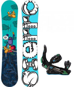 Sierra Stunt Wide Snowboard w/ Rome S90 Bindings Blue/Green