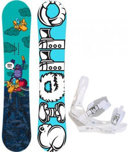 Sierra Stunt Wide Snowboard w/ Burton Triad Bindings White