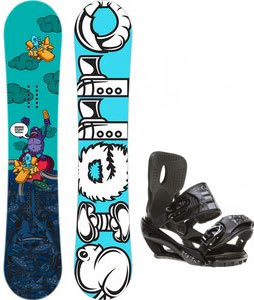 Sierra Stunt Wide Snowboard w/ Sapient Stash Bindings Black/Charcoal