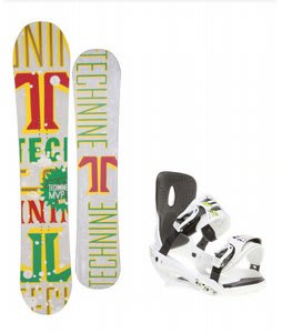 Technine MVP Series Snowboard w/ Sapient Stash Bindings White