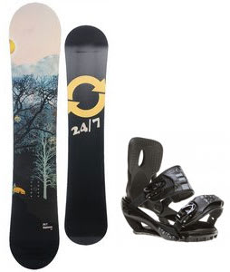 Twenty Four/Seven Highway Snowboard w/ Sapient Stash Bindings Black/Charcoal