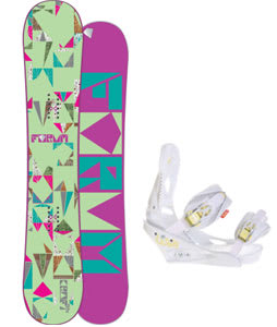 Forum Craft Snowboard w/Burton Lexa Bindings White A Dot