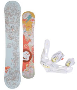 Jeenyus Wedge Snowboard w/Burton Lexa Bindings White A Dot