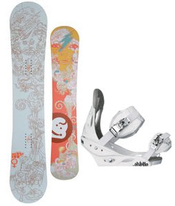 Jeenyus Wedge Snowboard w/Burton Stiletto Bindings White