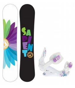 Sapient Color Wheel Snowboard w/K2 Kat Bindings White