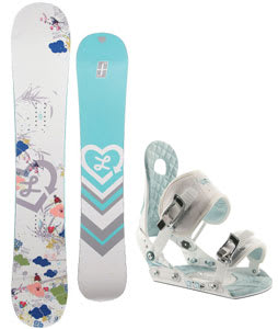Forum Luxirie Snowboard w/Ride LXH Bindings White/Blue