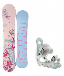 Lamar Merlot Snowboard w/Ride LXH Bindings White/Blue