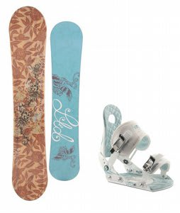 LTD Betty Snowboard w/Ride LXH Bindings White/Blue