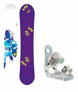 Morrow Sky Snowboard w/Ride LXH Bindings White/Blue
