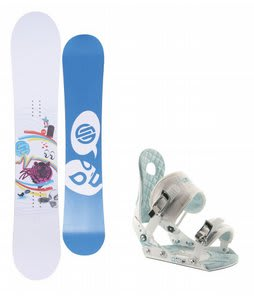 Santa Cruz Suave Eyes Snowboard w/Ride LXH Bindings White/Blue