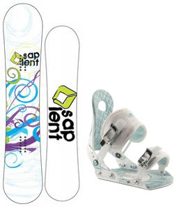 Sapient Spiral Snowboard w/Ride LXH Bindings White/Blue