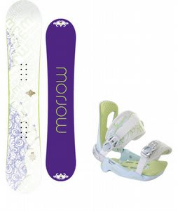 Morrow Lotus Snowboard w/Rossignol Zena Bindings White/Light Blue
