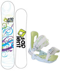 Sapient Spiral Snowboard w/Rossignol Zena Bindings White/Light Blue