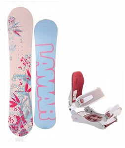 Lamar Merlot Snowboard w/Technine JV Bindings Off White/Red