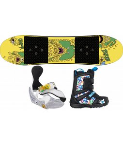 Burton Chopper Snowboard w/ Burton Grom Boots Black/White/Multi & Burton Grom Bindings White