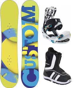 Burton Custom Smalls Flying V Snowboard w/ Burton Ruler Smalls Boots Black/White & Burton Mission Smalls Bindings Black/White