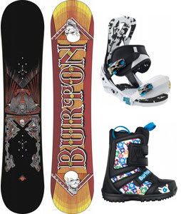 Burton TWC Smalls Snowboard w/ Burton Grom Boots Black/White/Multi & Burton Mission Smalls Bindings Black/White