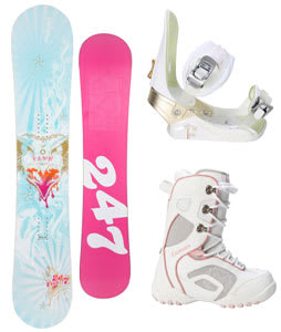 Twenty Four/Seven Fawn Snowboard w/ Lamar Force Boots White/Grey & Morrow Lotus Bindings White