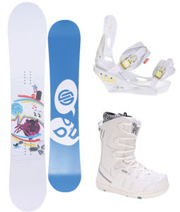 Santa Cruz Suave Eyes Snowboard w/ Ride Orion Boots White & Burton Lexa Bindings White A Dot