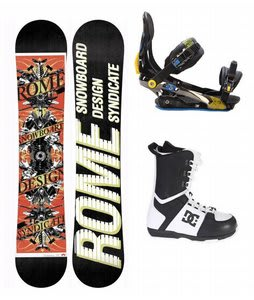 Rome Postermania Snowboard w/ DC Rogan Boots Black White & Rome S90 Bindings Blue/Yellow