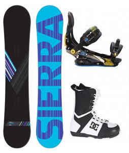 Sierra Reverse Crew Snowboard w/ DC Rogan Boots Black White & Rome S90 Bindings Blue/Yellow
