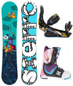 Sierra Stunt Wide Snowboard w/ DC Park Boots Black/Purple & Rome S90 Bindings Blue/Yellow
