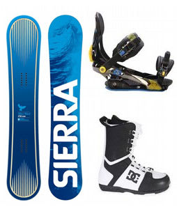Sierra Bluebird Snowboard w/ DC Rogan Boots Black White & Rome S90 Bindings Blue/Yellow