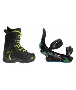 Sapient Yeti Snowboard Boots w/ Rome S90 Bindings Blue/Green