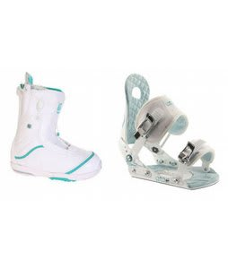 Burton Q Snowboard Boots w/ Ride LXH Bindings White/Blue