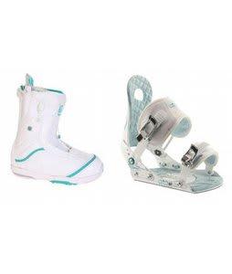 Burton Q Snowboard Boots w/ Ride LXH Bindings White/Blue